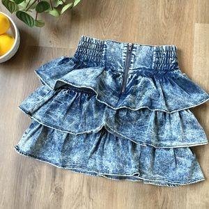 1980's Tiered Acid Wash Denim Mini Skirt sz 6 EUC
